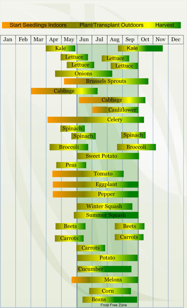 Zone 5 Vegetable  planting calendar describing approximate dates to start vegetable  plants indoors and outdoors relative to specific USDA Plant Hardiness  Zones.